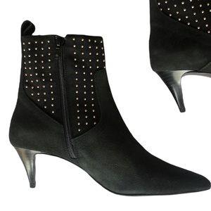 NWT Zara Black kitten heels studded boots size 6.5